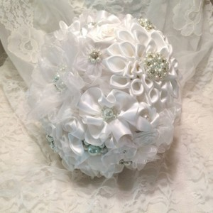 White pearl and rhinestone brooch and satin ribbon bouquet, White pearl and rhinestone brooch bouquet, White broach and fabric bouquet