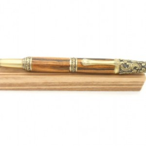 Hand turned Victorian twist pen, Antique Brass finish featuring Bocote, European Baroque inspired, steampunk flair, Victorian Inspired