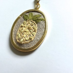 Hand Embroidered Pineapple Necklace Tropical Jewelry Gifts for Her Jewelry Under 50 Florida Palm Tree Beach Lover