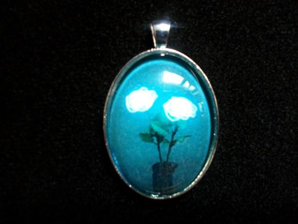 Iluminated Flowers and Vase Silver Pendant