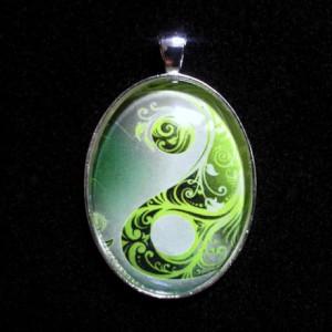 Green Yin Yang Silver Pendant