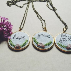 Customized Word Necklace Hope Be Still Grace Embroidery Hand Embroidered Floral Wreath Personalized Jewelry Gifts for Her Jewelry Under 50