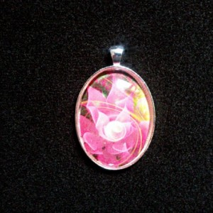 Pink Fantasy Flower Silver Pendant