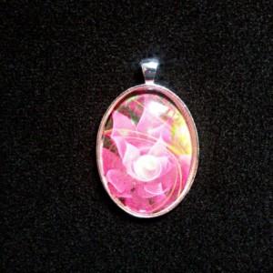 Pink Fantasy Flower Silver Pendant