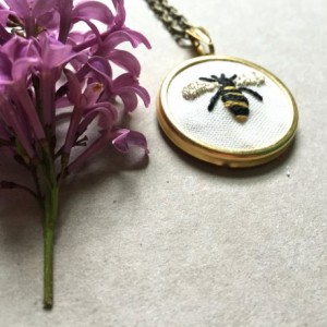 Bee Necklace Hand Embroidered Insect Jewelry Gifts for Her Jewelry Under 50 Embroidery Jewelry Gold Necklace Pendant Bumblebee