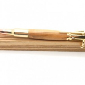 Handcrafted wood pen, 24K Gold Bolt Action Pen featuring Bethlehem Olivewood, perfect gift for gun enthusiast, handmade wooden pen