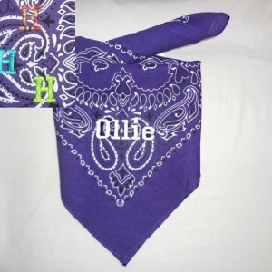 GLOW in the DARK Purple Dog Bandana with You Pup's Name in White Embroidery