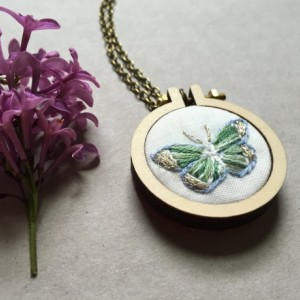 Hand Embroidered Butterfly Jewelry Mini Hoop Necklace Embroidery Butterfly Gifts For Her Jewelry Under 50 Insect Jewelry Embroidery Necklace