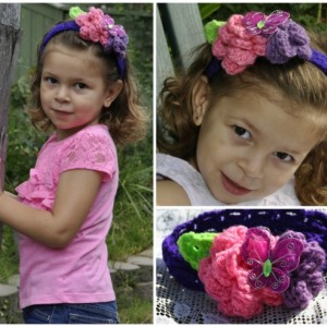 Crochet headband- Crochet flower headband- Butterfly headband
