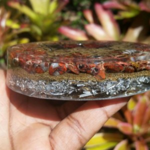 Red Brecciated Jasper Flower of Life charging plate