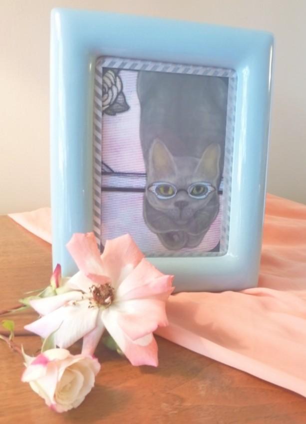 Gray Russian Blue Cat in Cat Eye Glasses Art Print