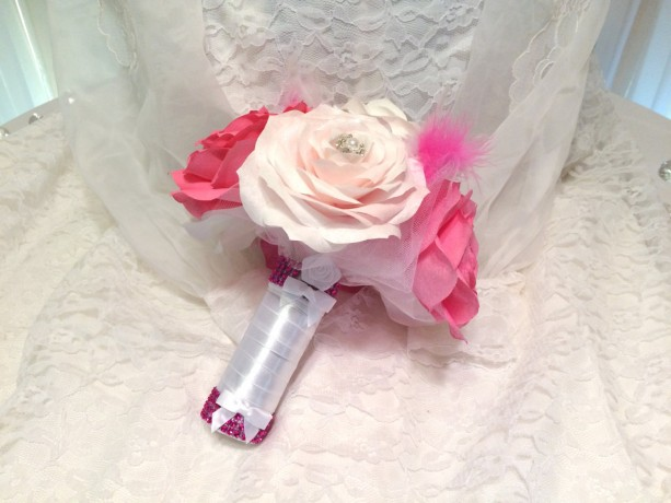 Paper rose bridal party bouquets using handmade flowers in colors paper rose bridal party bouquets using handmade flowers in colors of your choice that will last mightylinksfo
