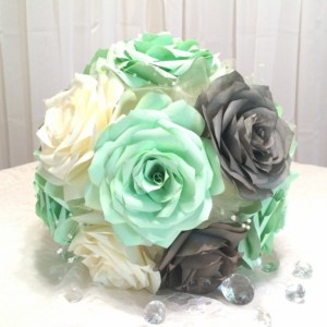 Mint green, grey and ivory handmade paper Rose bouquet and boutonniere, Can be made in any colors, Keepsake toss bouquet,Bridesmaid bouquet