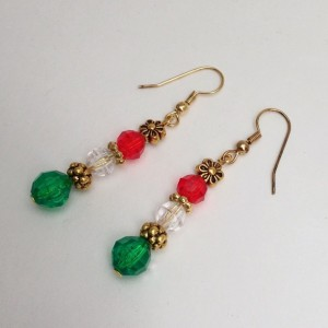Red, White & Green Beaded Dangling Earrings, Gold Spacer Beads, Multicolor Flower Earings Trending Items Christmas Colors