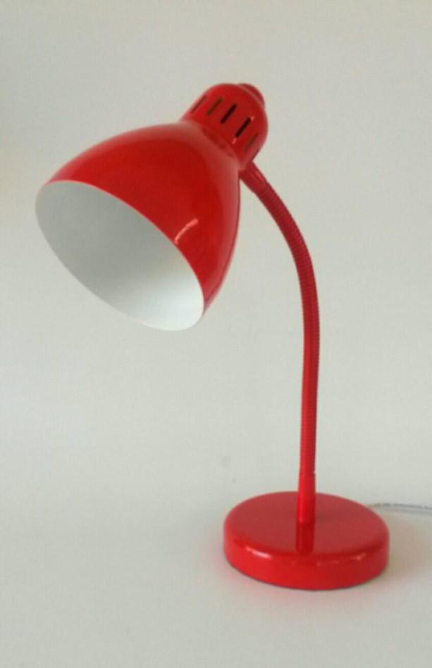 Red Lamp Gooseneck Desk Vintage Lighting Table Adjule Office Decor Bedroom Nightstand Kids White