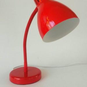 Red Lamp Gooseneck Desk Vintage Lighting Table Lamp Adjustable Office Decor Bedroom Nightstand Kids Bedroom White Lampshade Bullet Shade