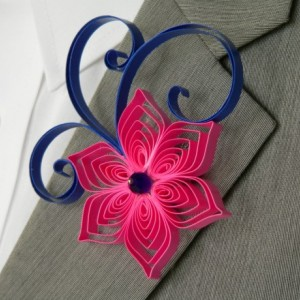 Royal Blue and Hot Pink Wedding Boutonniere