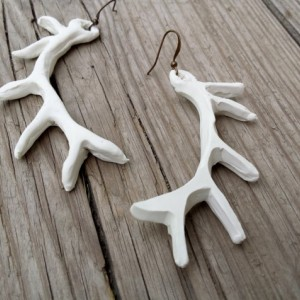 Faux Antler Earrings, Long Rustic Boho Earrings, Woodland Hipster Earrings, Buck Antler Jewelry, Deer Antler Earrings