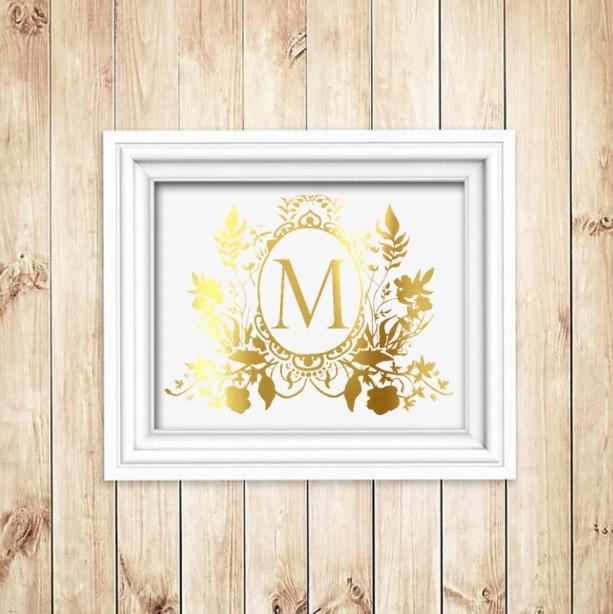 Gold Foil Wall Art custom family crest gold foil print - gold foil wall art - gold f