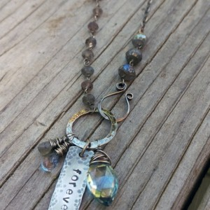 Labradorite Gemstones Linked with Sterling Wire - Handforged Clasp, Hand-stamped Medallion & Gemstone Charms