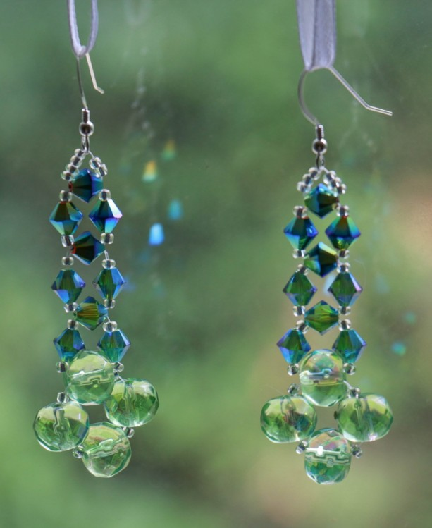 Dangle Earrings Swarovski Crystal Beaded Woven Tropical Bird
