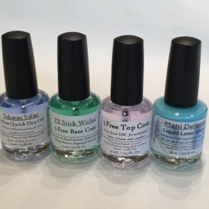 Perfect Mani Quad - Set of one each Mani Defender, I'll Stick Wichu Base Coat, Saharan Safari Quick Dry Oil and Crystal Clear Top Coat