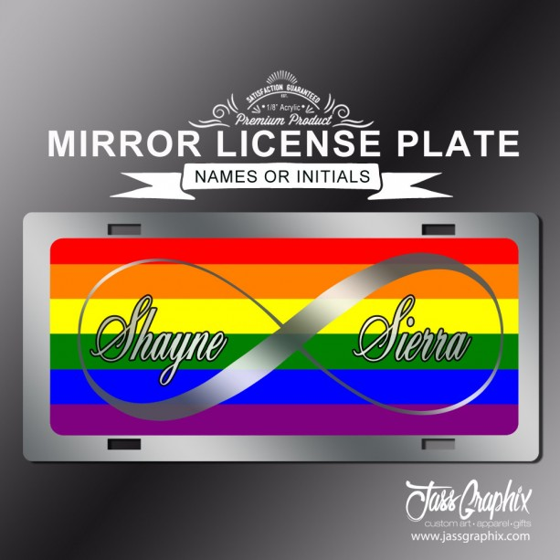 Gay Pride LGBT Infinity Rainbow Mirror License Plate for couples. Now that's legal show the world on your front bumper. Great wedding gift.
