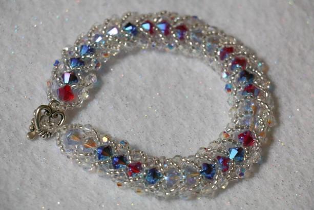 Swarovski Crystal Flat Spiral Beaded Bracelet