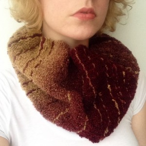 A Gold and Maroon Handwoven Cowlneck Scarf