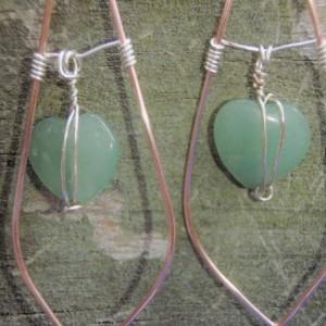 Green Beach Glass Heart Suspended Inside Rose Gold Teardrop