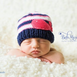 Knit  GIRLS Navy, Fuchsia and White Hat with Fuchsia Whale, girls  clothing, whale hats, baby hat, baby beanies, newborn hats