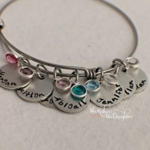 Hand Stamped Personalized Bracelet - Adjustable Bracelet - Mother's Bracelet with Birthstones - Birthstone Bracelet - Personalized jewelry