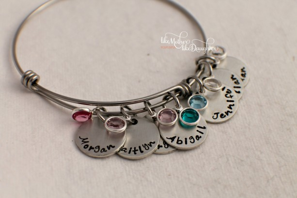 Hand Stamped Personalized Bracelet Adjule Mother S With Birthstones Birthstone