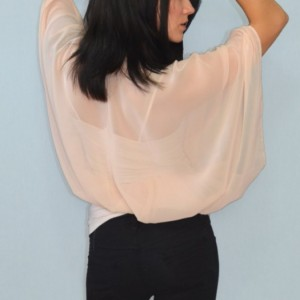 Batwing flare chiffon top with front closure