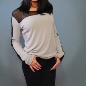Sweater with mesh detail
