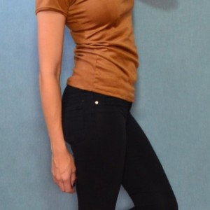 High neckline stretch suede tshirt