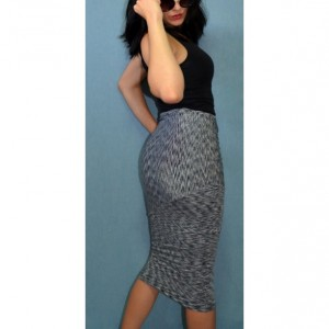 Black and white striped paneled knit midi skirt, lined