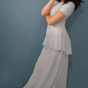 Maxi dress with high low peplum, available in multiple colors!