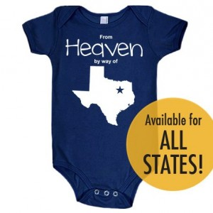 All States 'From Heaven By Way of' Customized Cotton Baby One Piece Bodysuit - Infant Girl and Boy