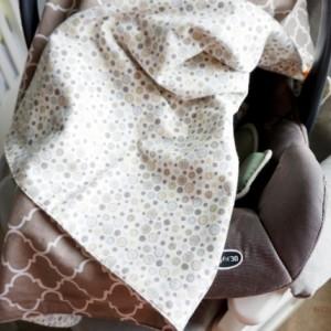Taupe Quatrefoil Car Seat Canopy