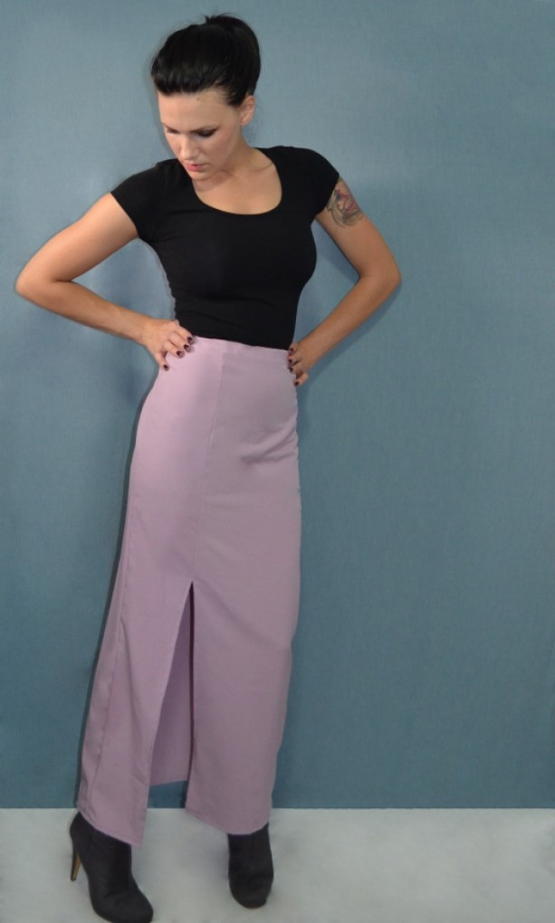 Peach skin maxi skirt with off-center slit