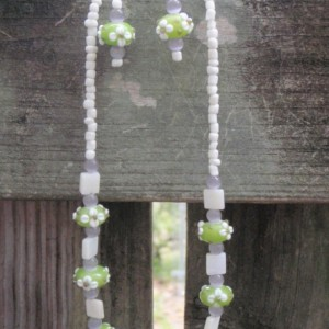 Green Lampwork Glass Bead Necklace and Earrings