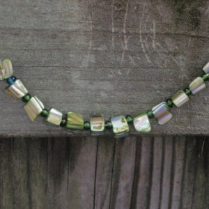Delicate Green Mother of Pearl and Silver Chain Necklace