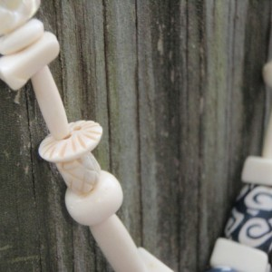 White Mother of Pearl, Bone and Blue Clay Bead Necklace