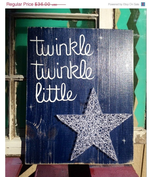 SALE Twinkle Twinkle Little Star String Art Sign Hand Painted | aftcra