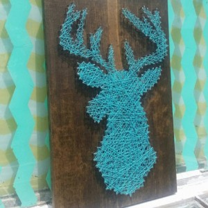 String Art Deer Silhouette in Teal on Dark Stained Wood. Unique Gift Idea by Nailed It Designs.