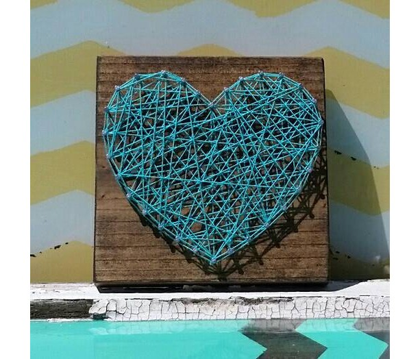 String Art Heart in Teal Blue on Stained Wood. Handmade by Nailed It  Designs.