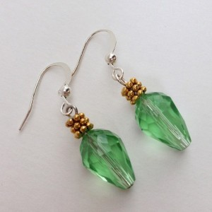 Green Christmas Tree Lights Dangling Earrings, Crystal teardrop Earrings, Xmas Earings Holiday Jewelry