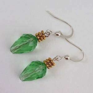 Green Christmas Tree Lights Dangling Earrings, Crystal teardrop Earrings, Xmas Earings Holiday Jewelry