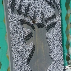 Reverse Style String Art Deer. Gray Stained Wood with White String. Unique Gift Idea by Nailed It Designs.